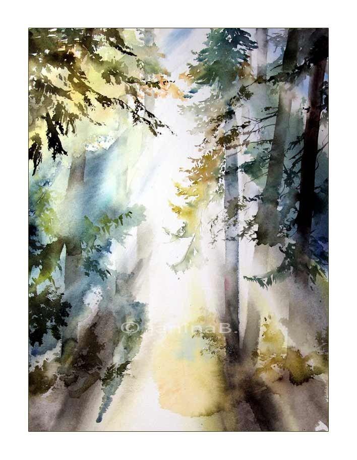 Wald Aquarell 30x40cm Tree Art Watercolor Paintings