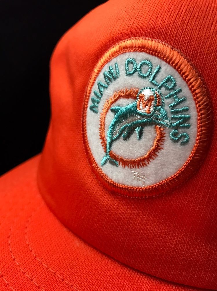 170faaf5 Vintage Miami Dolphins 80's Trucker Snapback Hat Cap NFL Made in USA ...