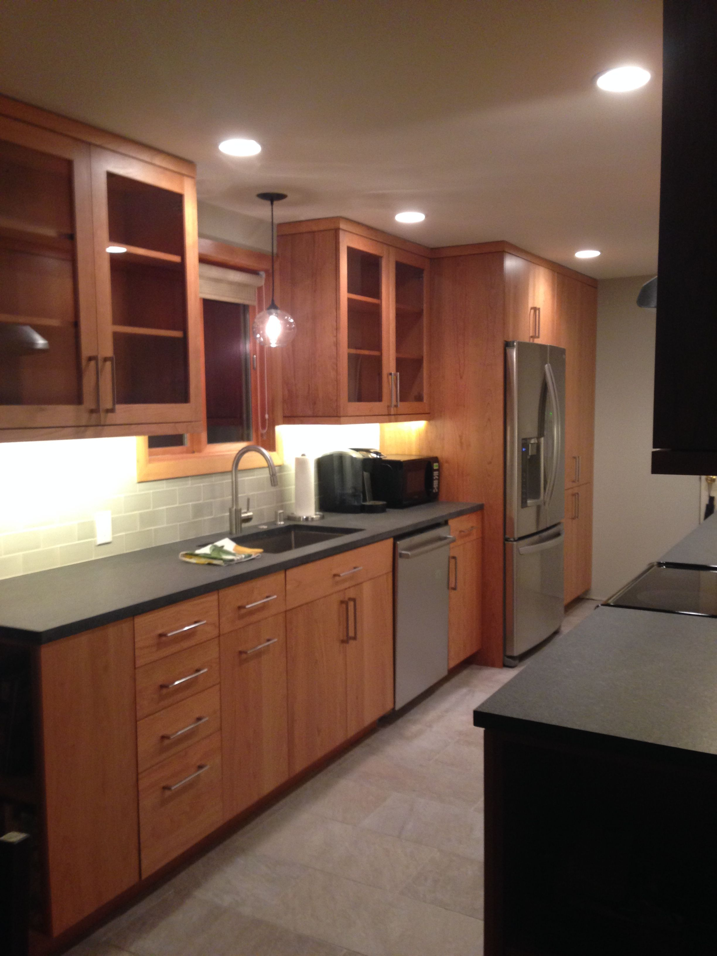 Kitchen remodel. Fireclay Silver Haze subway backsplash, absolute ...