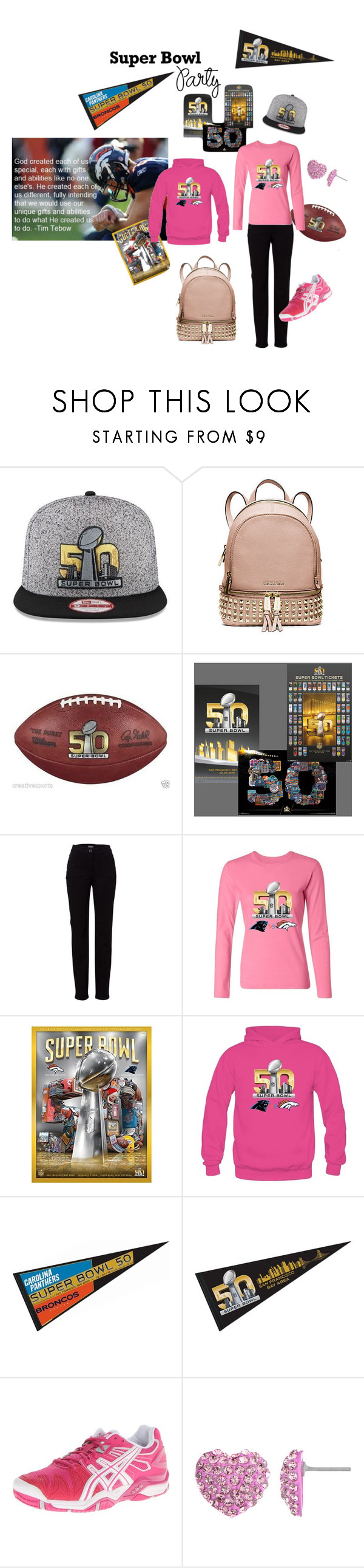 """Super Bowl Party"" by beckyarender ❤ liked on Polyvore featuring Michael Kors, Basler, Asics, women's clothing, women, female, woman, misses, juniors and SuperBowlParty"