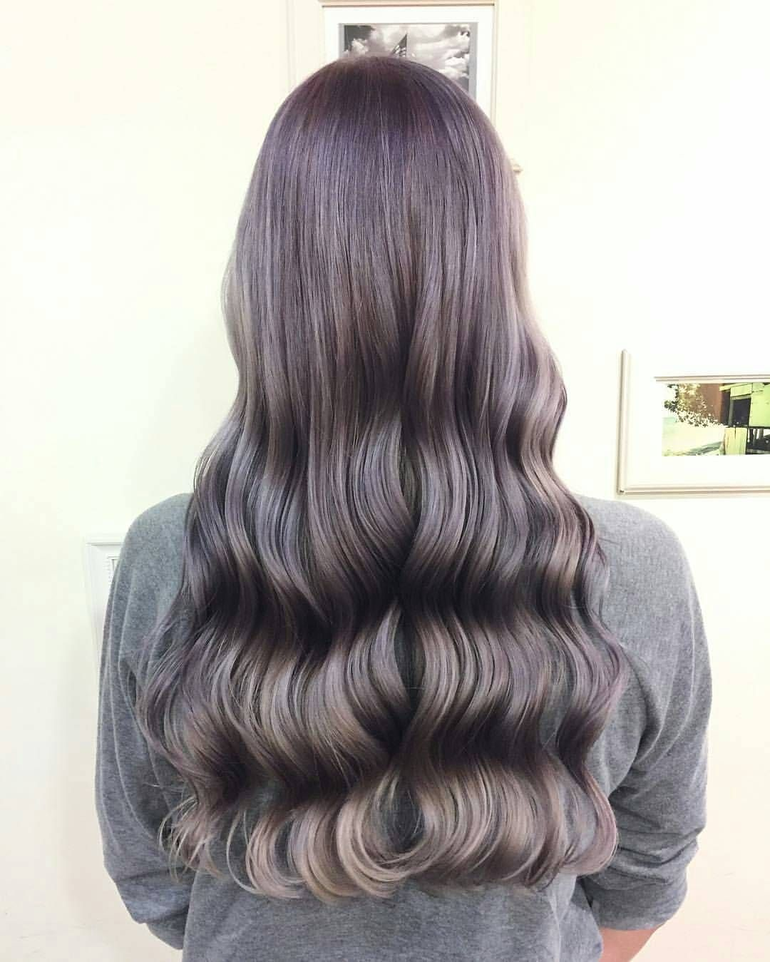 Can you guess how many colors are there in this hair style? A color gradient mixture of fairtytale purple, silver and grey hues by Hair Salon NALU, Tokyo.