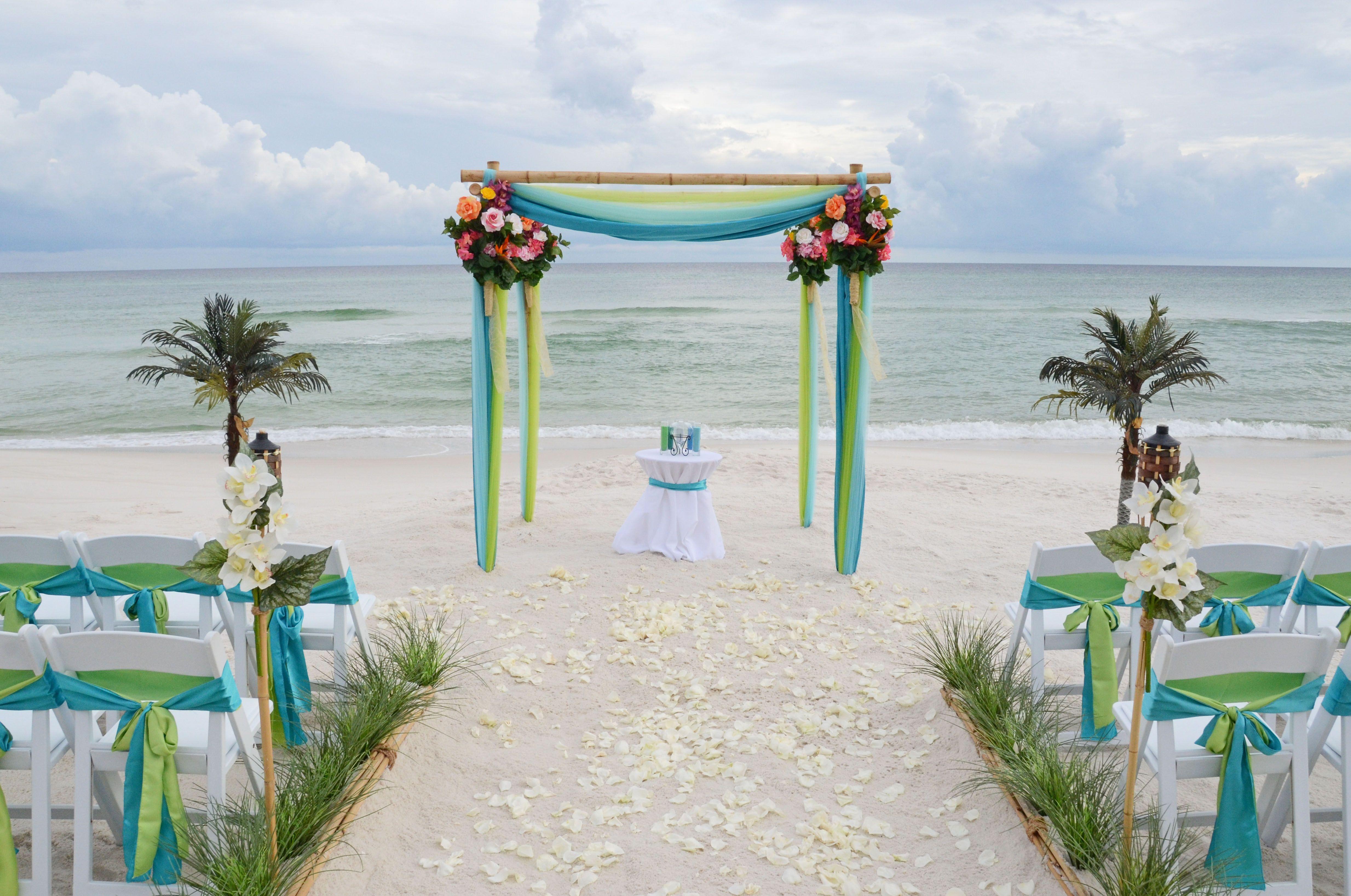 Apple Green & Turquoise beach wedding arbor. Seagrove