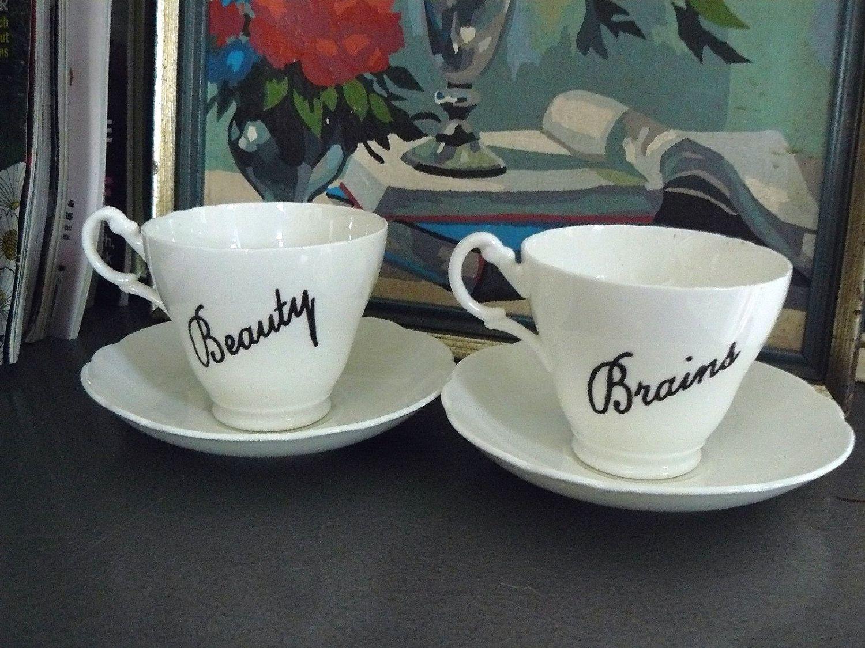 Beauty and brains teaset 4500 via etsy tea cups