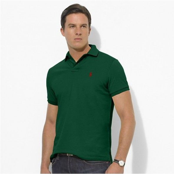 Ralph Lauren Men Custom-Fit Mesh Polo Green http://www.ralph