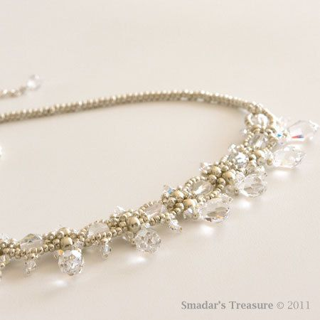 Bridal / Evening Silver Beaded Necklace with Swarovski Crystal Faceted Drop Beads. Delicate Bib Style Bridal Necklace