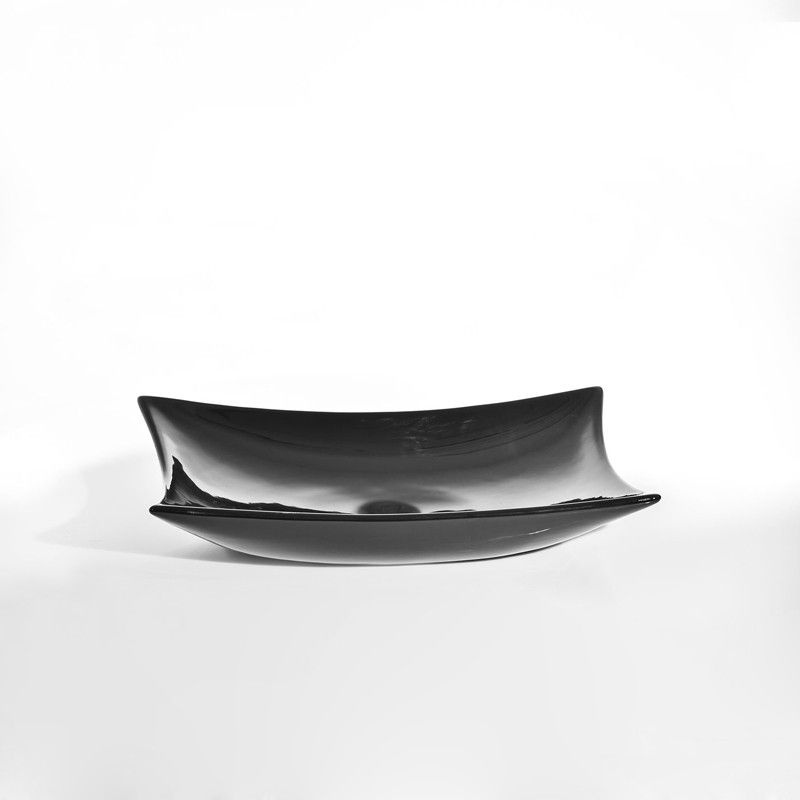Vasque à Poser Noire sans plage Robinet, 57x39 cm, Céramique, Wing