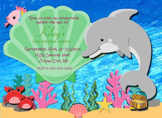 Dolphin Birthday Invitation Printable Under The Sea Photo Etsy Dolphin Birthday Parties Whale Birthday Parties Printable Birthday Invitations