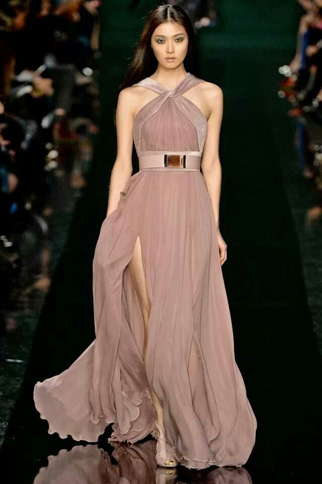 Taupe gown that has beautiful flow. | Ciao Bella | Pinterest