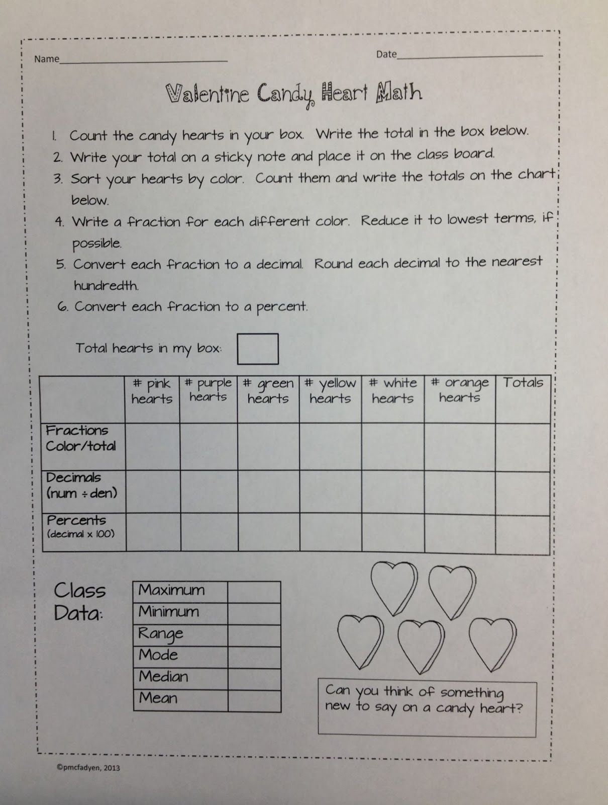 Valentine S Math Activity To Teach Stem Amp Leaf Plots