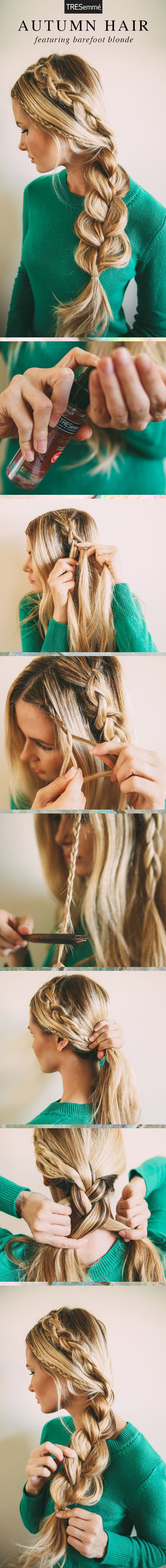 Idées Coiffures Pour Femme  2017 / 2018   Connaisseur des tresses Barefoot Blonde d'Amber Fillerup nous montre une triple tresse