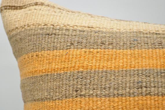 "kilim pillow 16""x24"" cushion cover yellow striped kilim pillow boho pillow cover anatolian pillow ca"