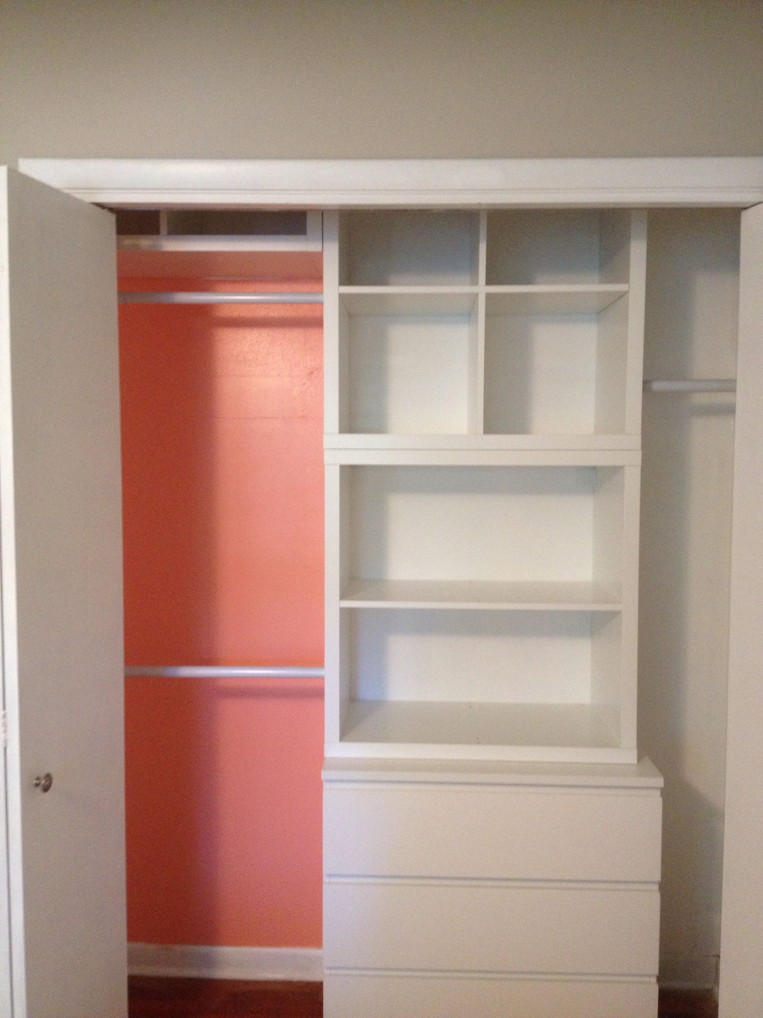 master closet ikea kallax shelving modified ikea malm 3 drawer dresser paint behr citrus. Black Bedroom Furniture Sets. Home Design Ideas