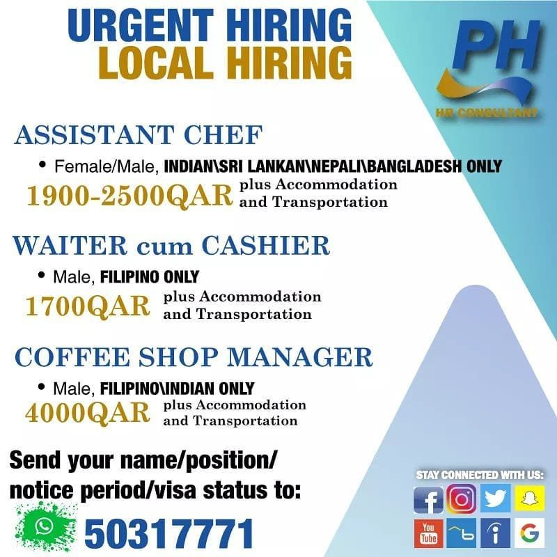 Urgent Hiring For Reputable Restaurants And Coffee Shops Applicants Who Are In Qatar And Able Meet The Following Criteria Managing Finances Waiter Coffee Shop