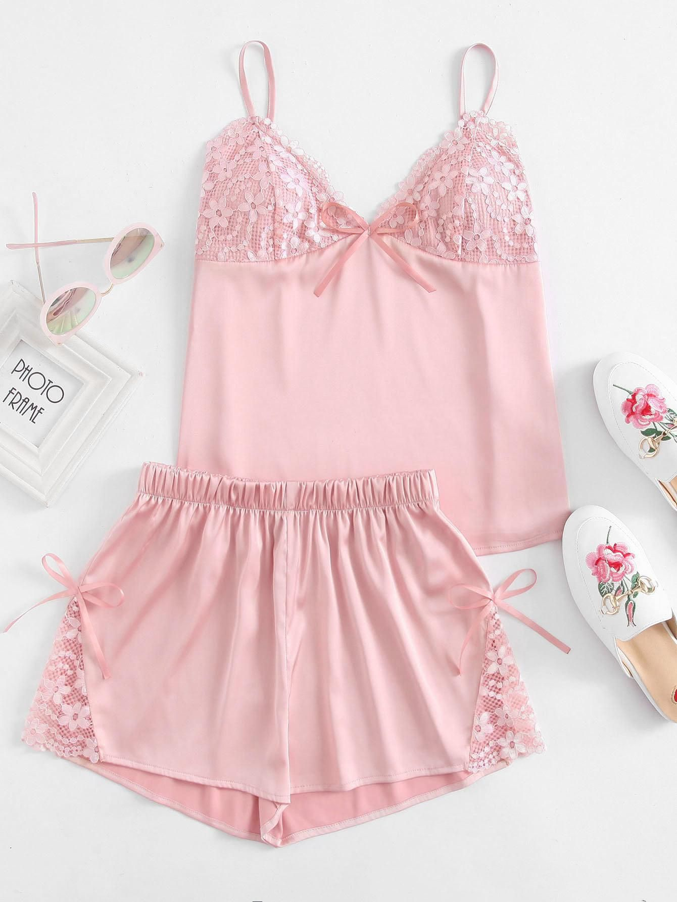 0ffb5f57896  BFCM  CyberMonday  SheIn -  SheIn Floral Lace Detail Bralette Cami Top  With Shorts Pajama Set - AdoreWe.com