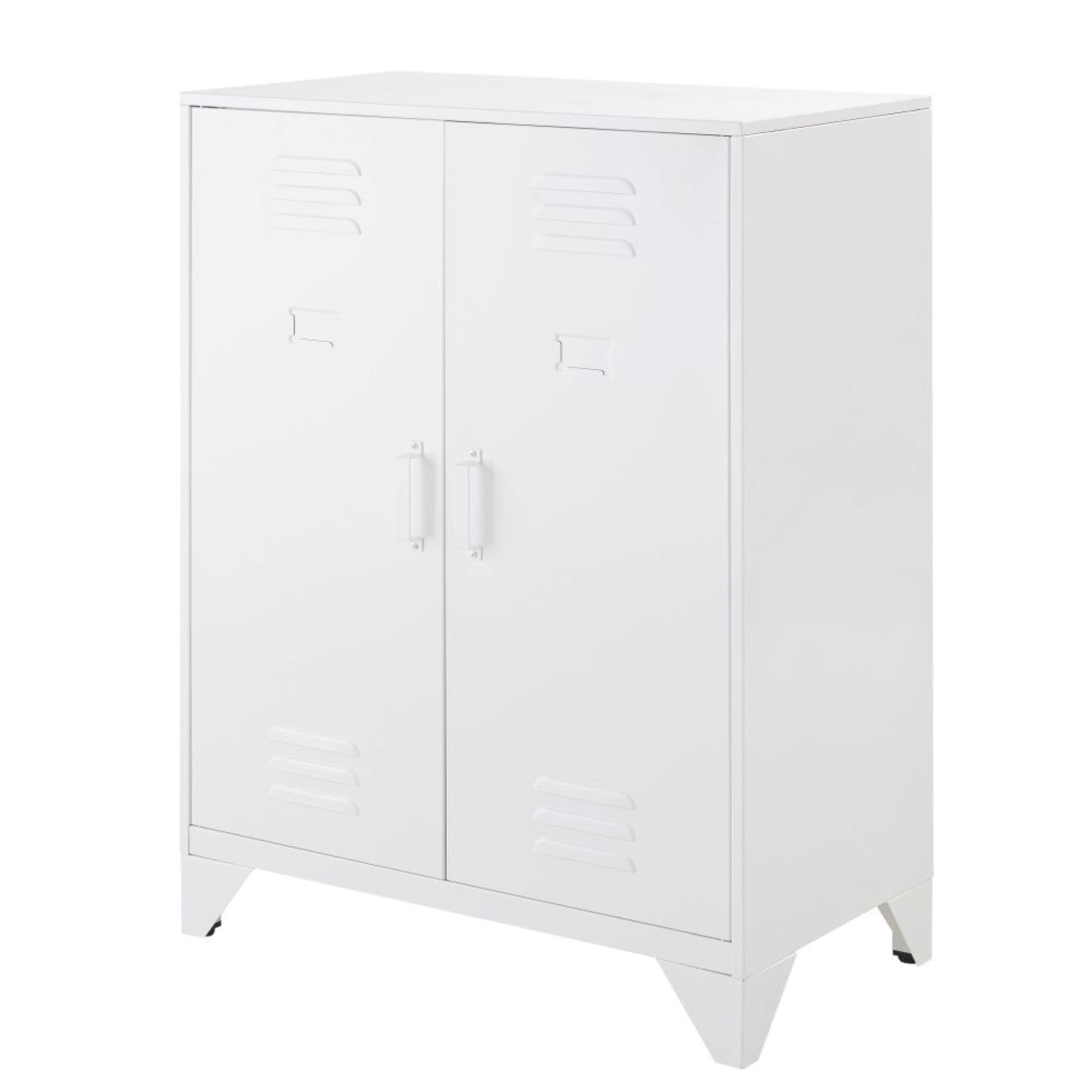 Cabinet De Rangement Indus 2 Etageres En Metal Blanc Cabinet De Rangement Rangement Et Etagere Metal