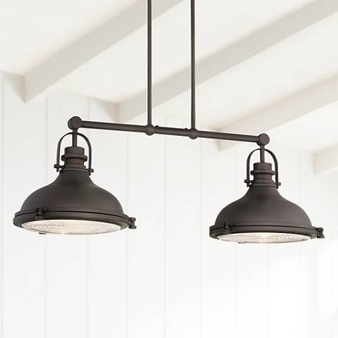 Clear ribbed glass enhances the style factor of this two light bronze island pendant canopy is wide x 4 deep x 1 high style at lamps plus