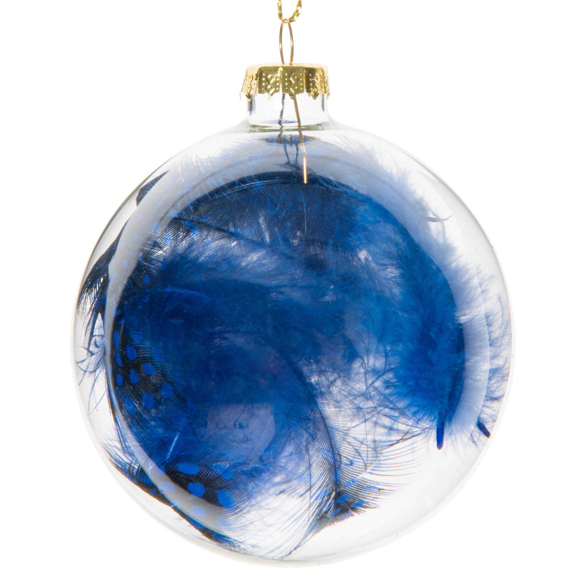 Boule de no l transparente avec plumes bleues en verre 8 for Aquarium boule en verre