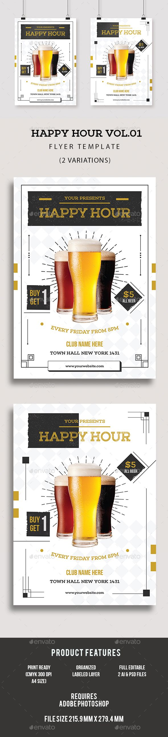happy hour flyer print templates flyers events tagged as art deco