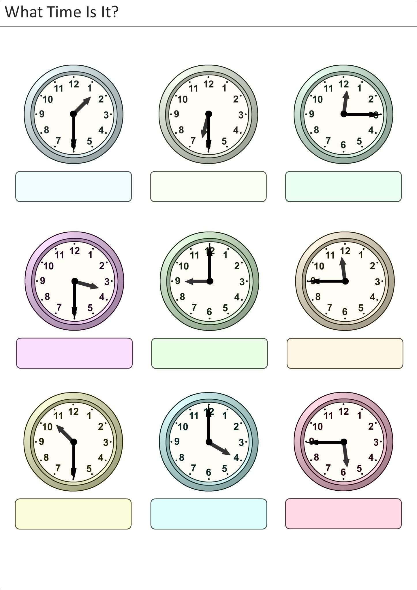 What Time Is It Worksheets For Children 7 With Images