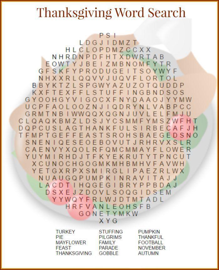Thanksgiving Word Search | Thanksgiving word search ...