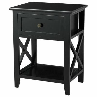 Costway 1 Drawer Black End Bedside Table Nightstand Drawer Storage