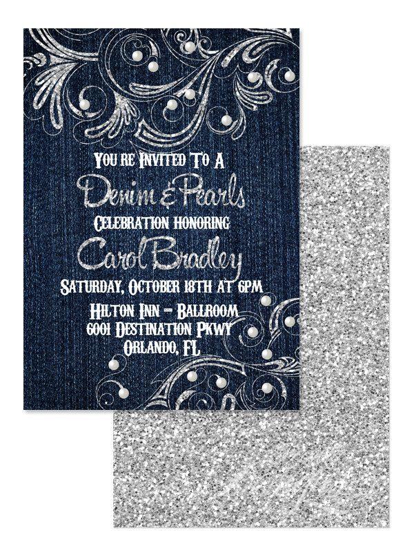 5X7 Denim and Pearls Invitation You Print Denim by LatishaHorton