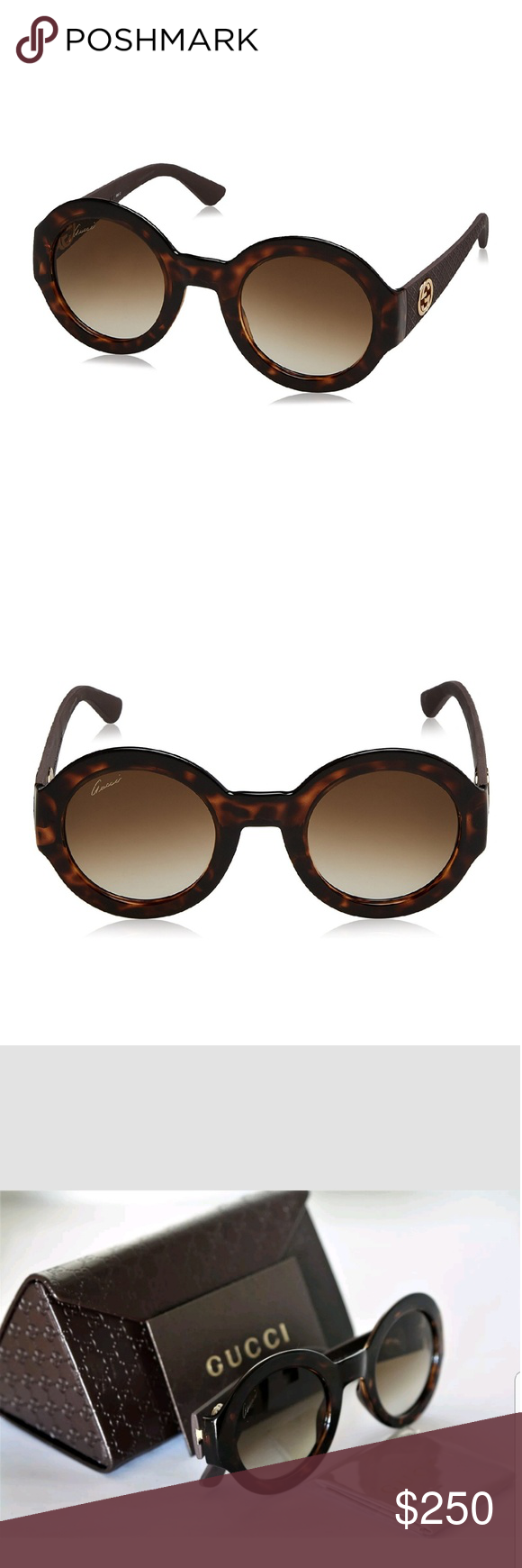 d23db5c2ce0 NEW RARE GUCCI Round Havana Brown Gold Sunhlasses Round sunglasses by GUCCI.  Frame   Material