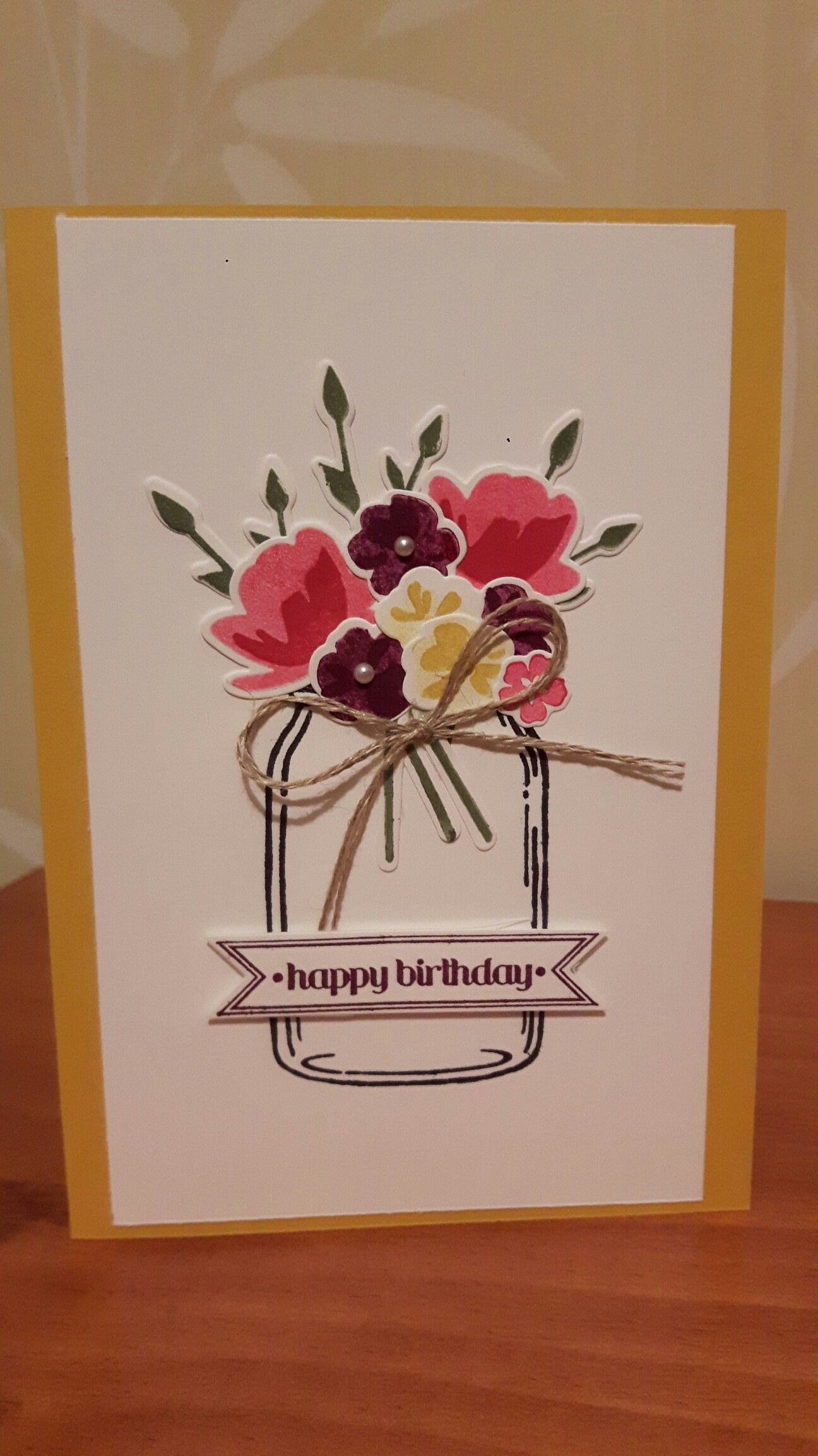 Birthday card for my mum, Stampin Up Jar of Love stamp set and framelits, linen thread, pearl embellishments