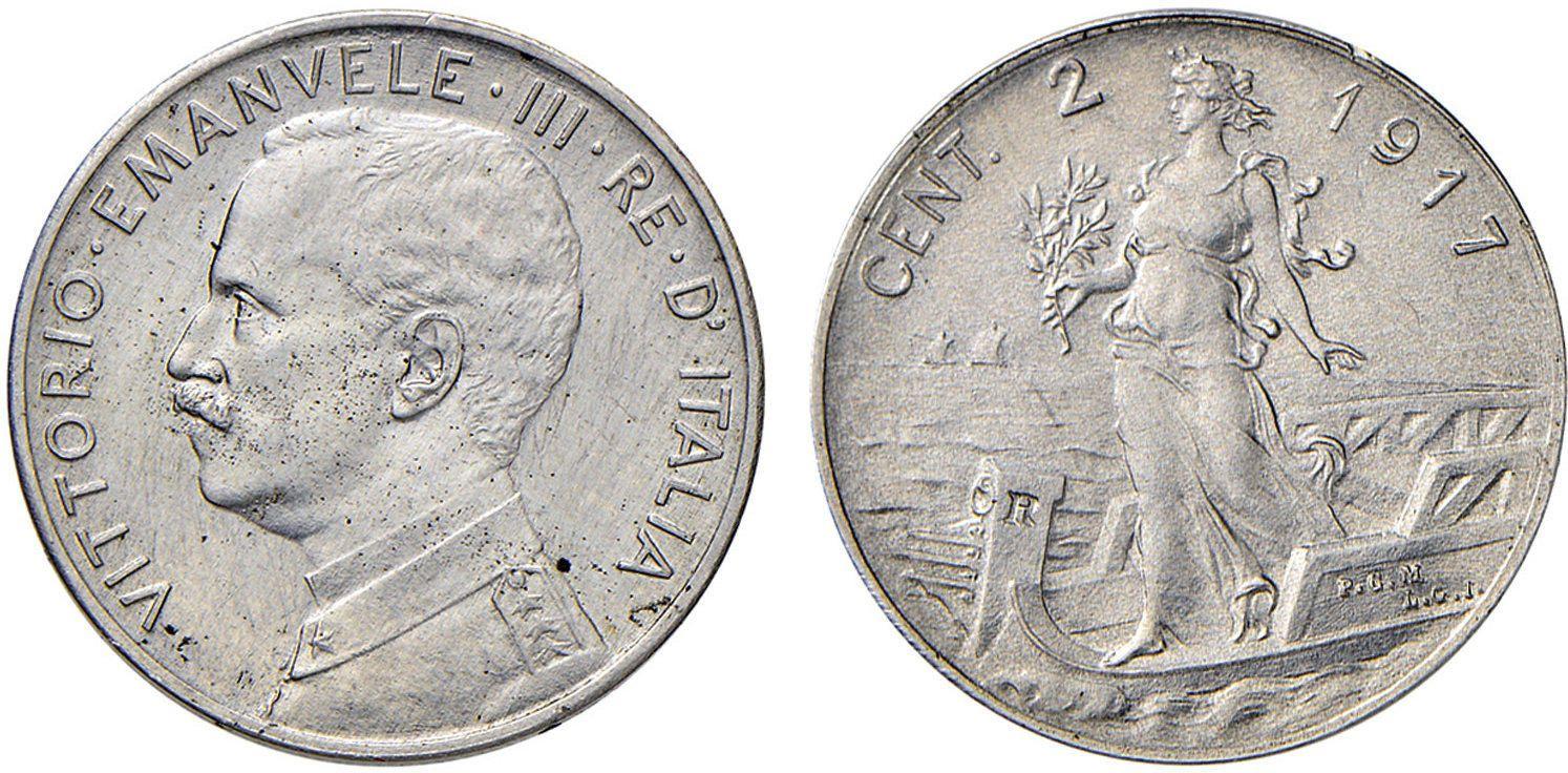 e1f9452e7d NumisBids: Nomisma Spa Auction 50, Lot 464 : Vittorio Emanuele III  (1900-1946) 2 Centesimi 1917 Esperimento in.