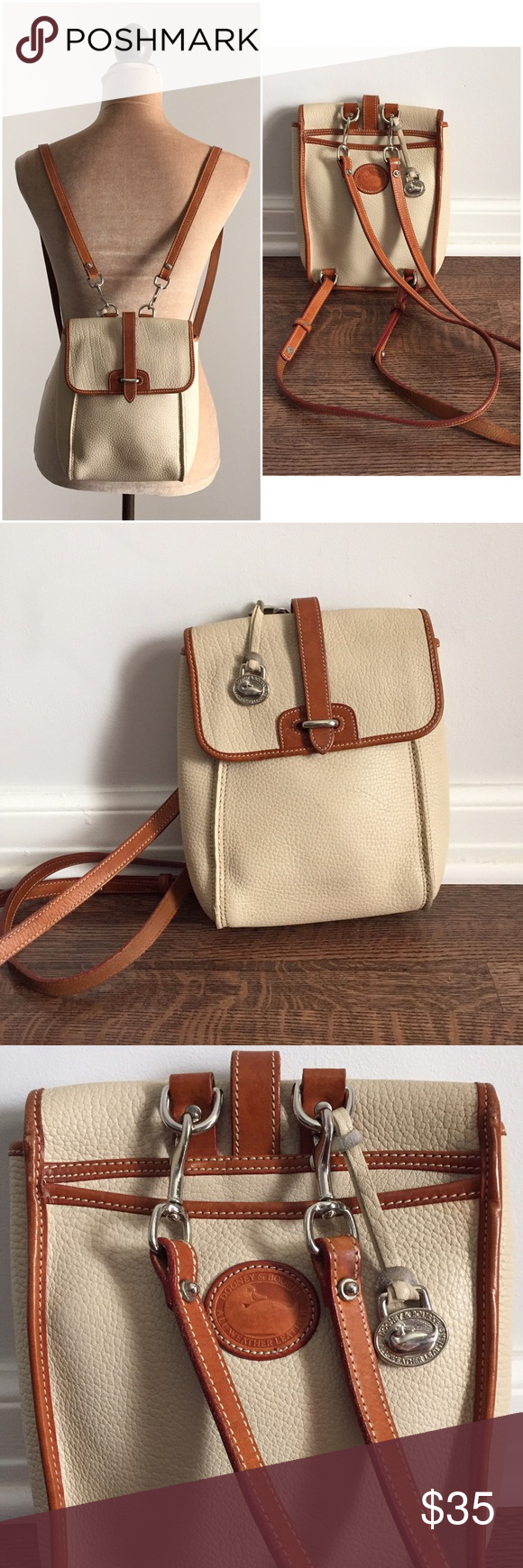 "🎭vintage🎭 Dooney & Bourke leather backpack THE coolest grungy vintage Dooney backpack!! All Weather Leather collection. In excellent condition! beautiful sturdy clean cream leather. inside is very clean and it's in excellent shape for its age. perfect for all the essentials! measures 9"" length x 7"" width. straps measure 34"" all around. Dooney & Bourke Bags Backpacks"