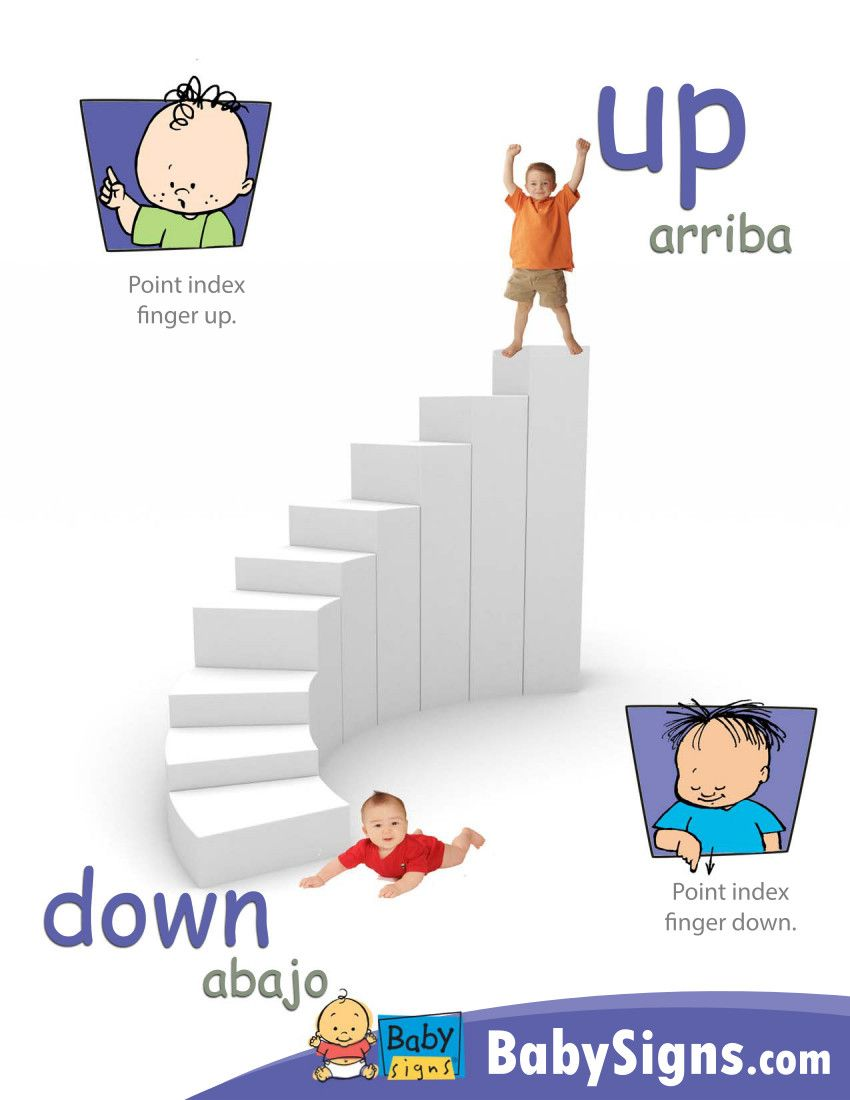 """Signs of the week:  Up and Down!  The direction signs, UP and DOWN, can be used to add emphasis to what you are saying. You can also use these signs to play games with your baby like """"hold the toy UP"""" or """"hold it DOWN low.""""  These signs can help non-verbal children take an active role in leading this game as well.  http://www.babysignandplay.com"""