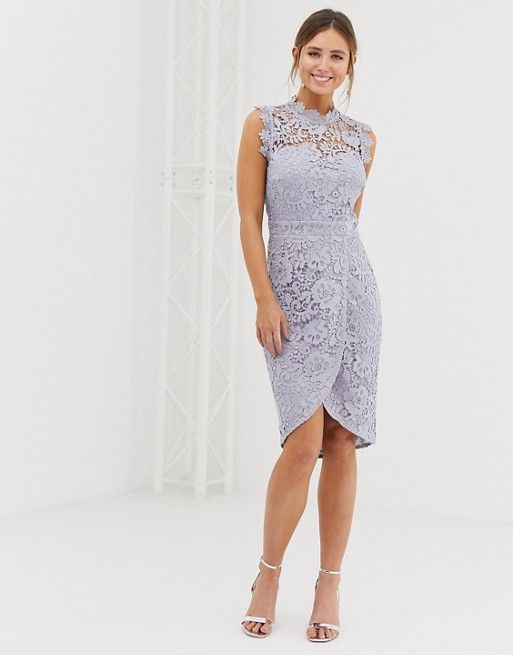 Paper Dolls Lace Wrap Midi Pencil Dress In Oyster Gray In