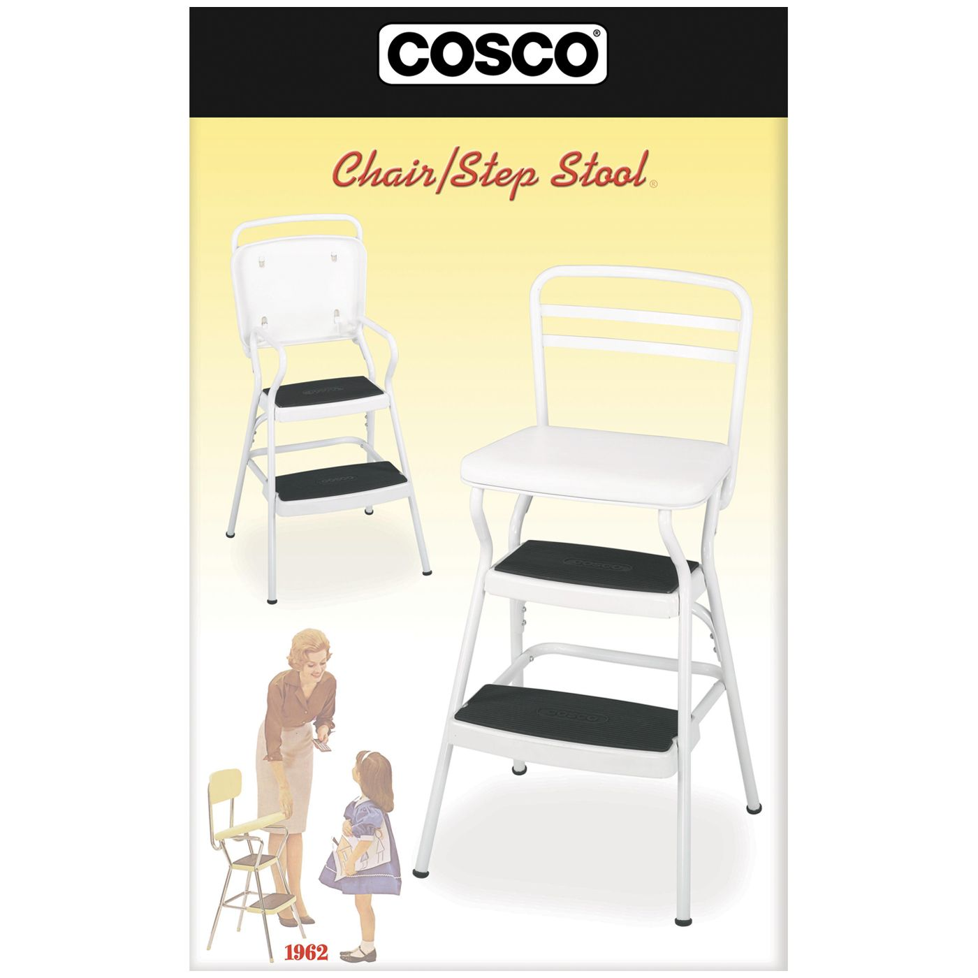 Shop Cosco Home And Office Products 11130WHTE Retro Counter Chair / Step  Stool With Lift