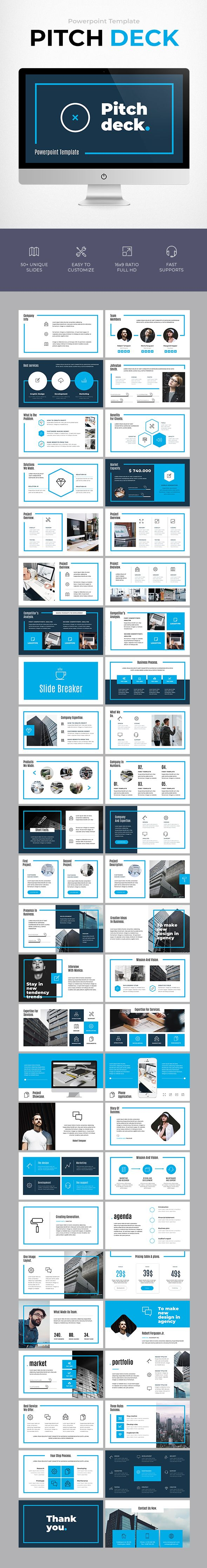 Pitch deck template pitch business powerpoint templates and decking pitch deck powerpoint template 50 unique slides cheaphphosting Image collections
