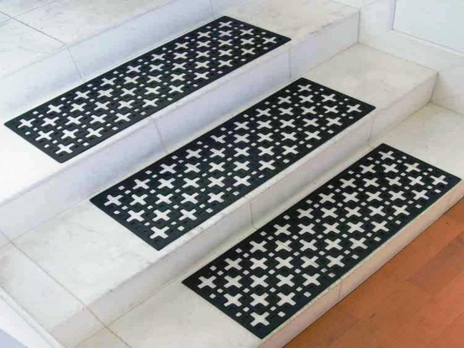 Rubber Stair Tread Mats Benefits : Home Interior Design Using White Stairs  Combine With Anti Slip Black Rubber Mats And Brown Wooden Floor