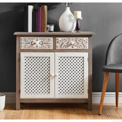 VIRGINIA Buffet romantique gris et blanc + plateau placage bois - Peindre Des Portes En Bois