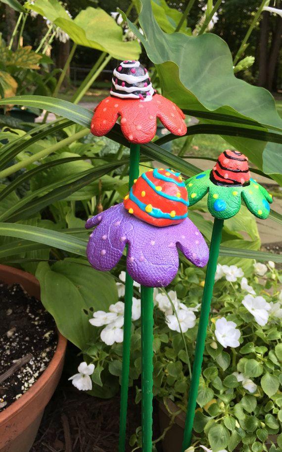 Ceramic Garden Art FlowersSet of Three Garden by PondScumCeramics