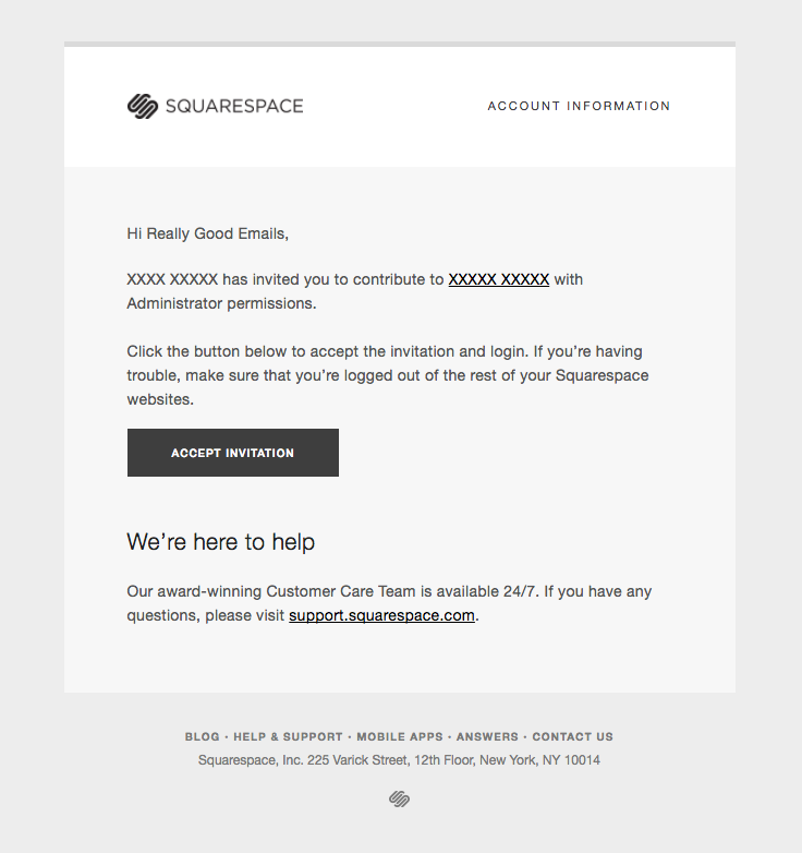 Squarespace sent this email with the subject line contributor squarespace sent this email with the subject line contributor invitation from xxxxx xxxx read about this email and find more invitation emails at stopboris Gallery