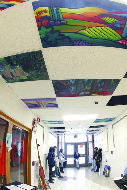 Painted Ceiling Tiles Classroom Ceiling Decorations Ceiling Tiles Art Ceiling Decor