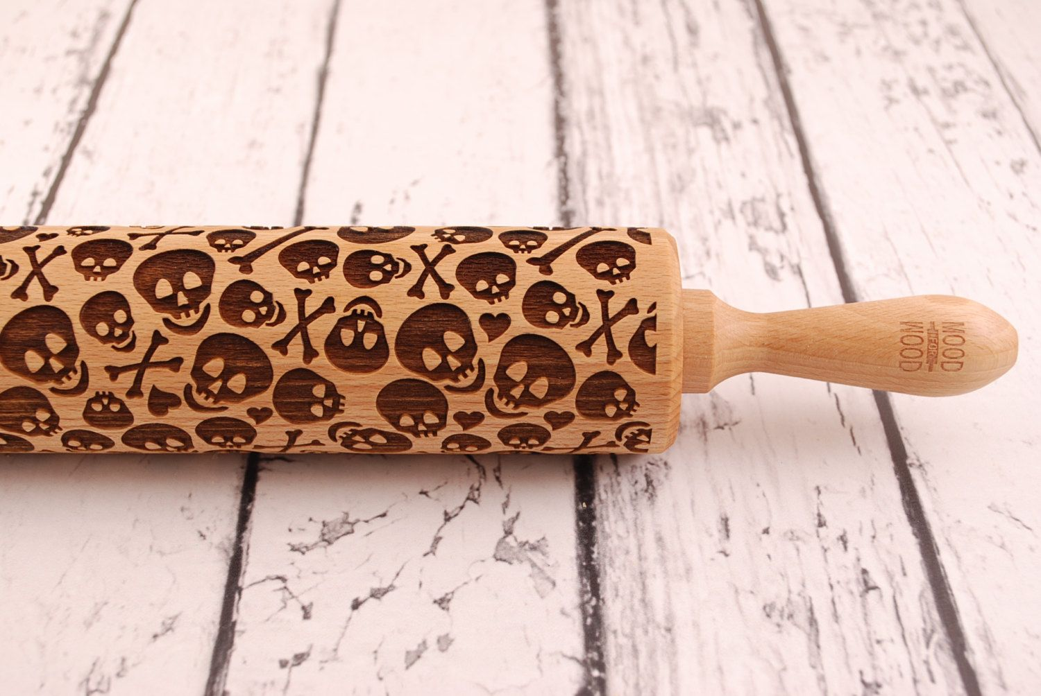 BATS perfect Halloween idea embossed engraved rolling pin for cookies