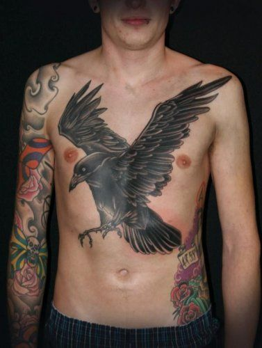 James Woodford Chest Tattoo Of A Flying Raven Black Crow Tattoos