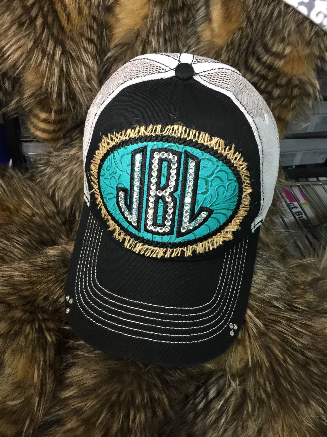 A personal favorite from my Etsy shop https://www.etsy.com/listing/234778763/crystal-monogrammed-cap