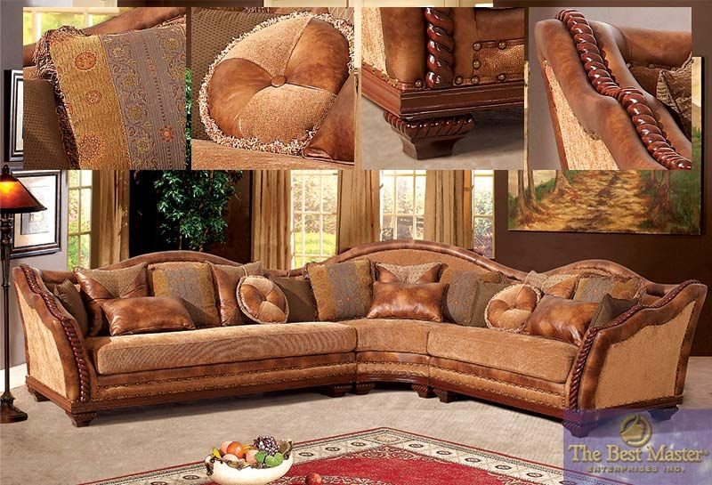 3 pc Sectional Sofa in Burnt Caramel & Cherry Wood