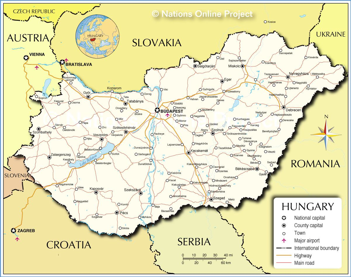 Map of hungary favorite places and spaces pinterest budapest political map of hungary showing the countrys international borders cities and major towns main roads railroads and major airports gumiabroncs Images