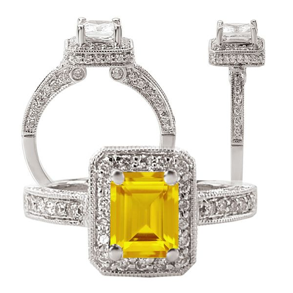 7x5mm Natural Orangey Yellow Sapphire Ring in 925 Sterling Silver
