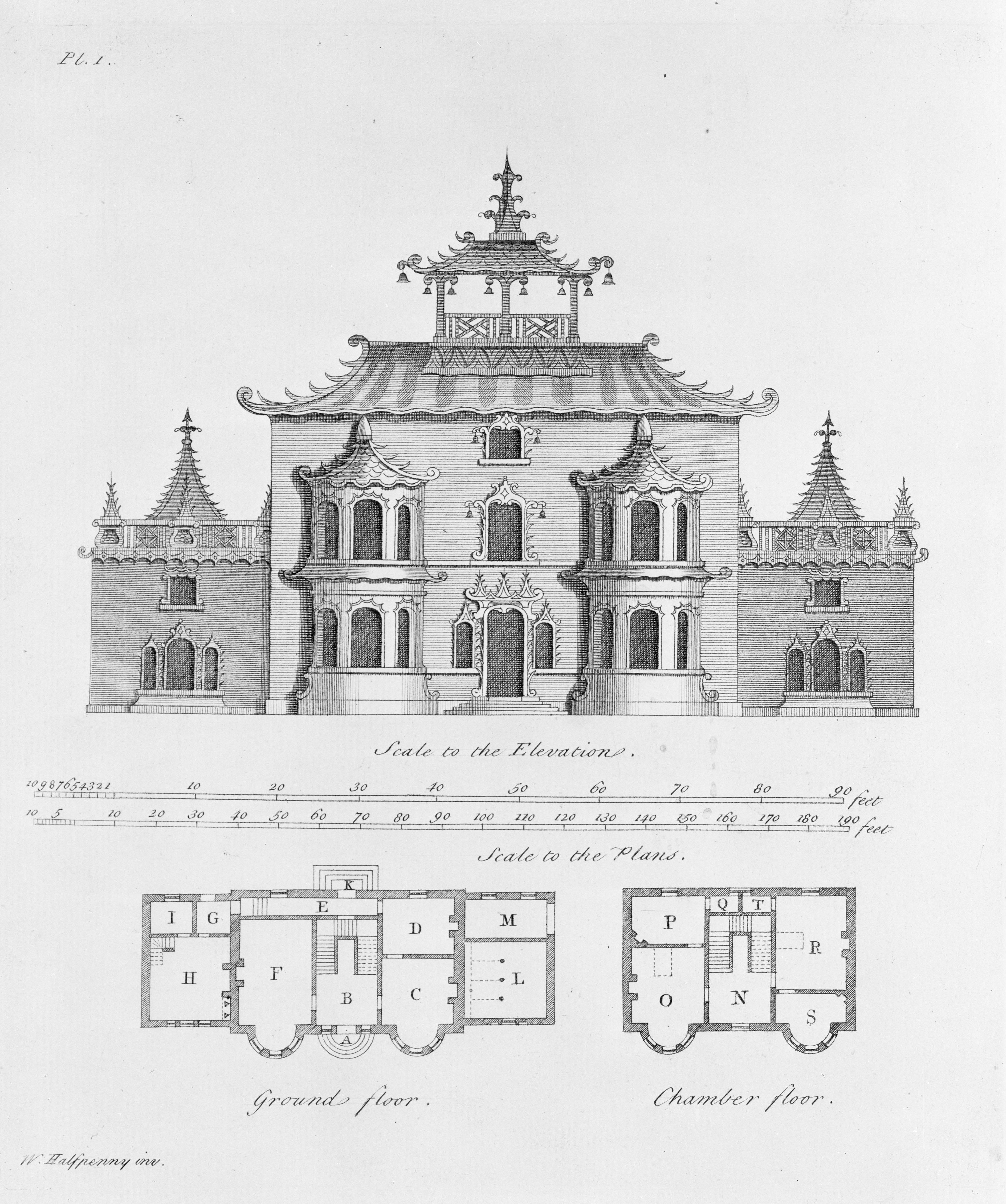 Plans For A Chinese Inspired Building By William Halfpenny Gothic Architecture Architecture Artists Architecture Illustration