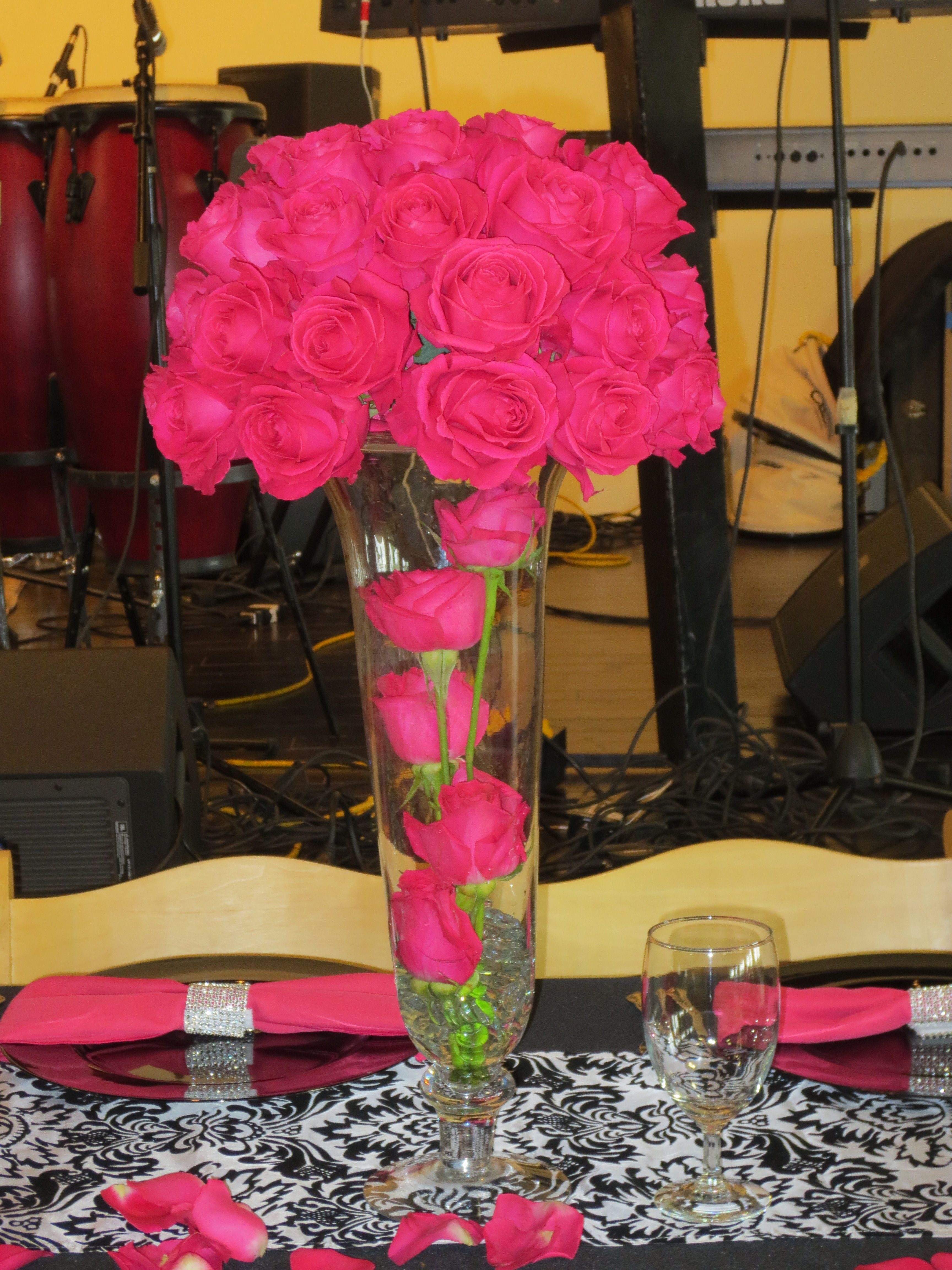 Hot pink roses flowergirls weddings th lewis tulsa ok