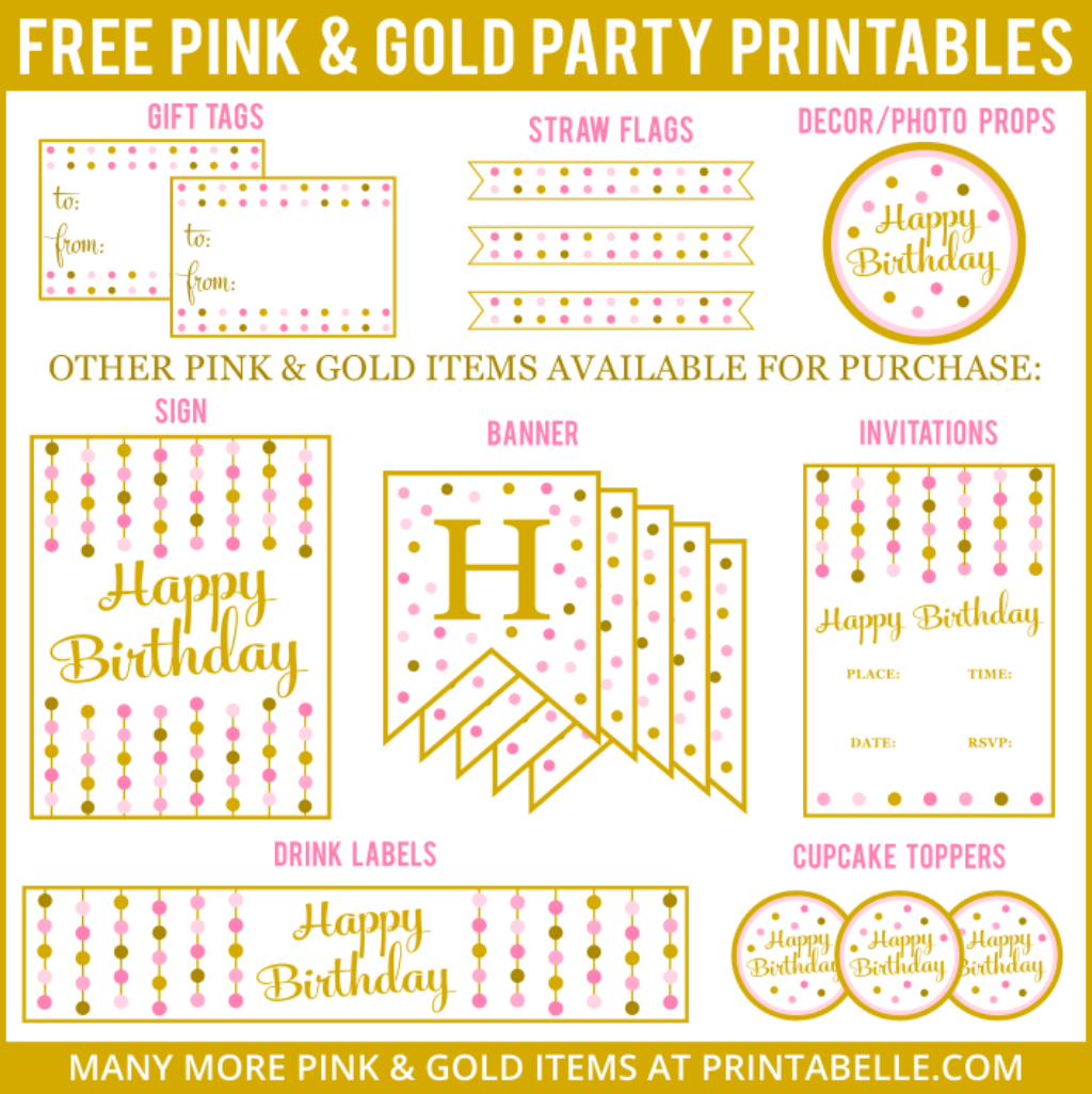 FREE Pink Gold Party Printables