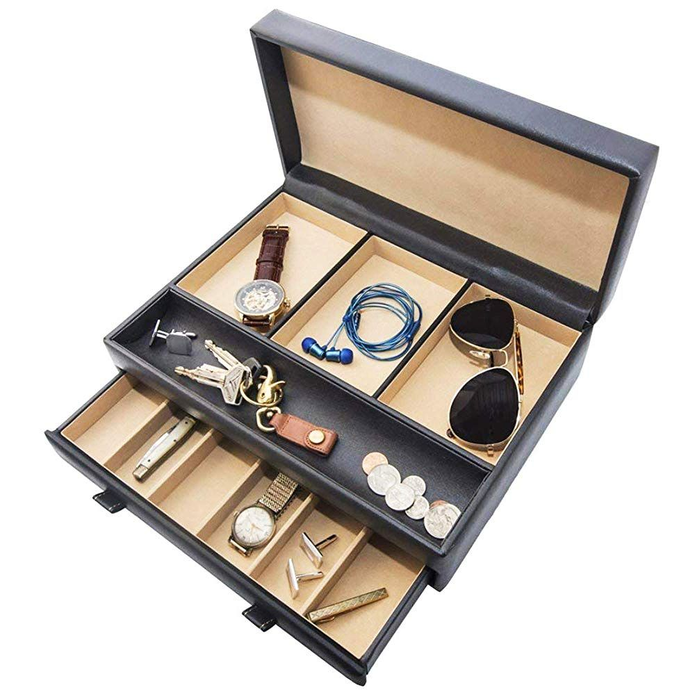 Stock Your Home Luxury Mens Dresser Valet Organizer For Watches Jewelry And Accessories Large Jewelry Holder And Display Case Black Jewelry Organization Jewelry Case Jewelry Holder
