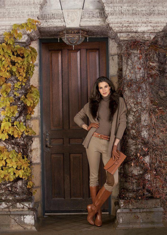 Lauren Ralph Lauren Fall 2012 - Brown jacket with long dark fur ...
